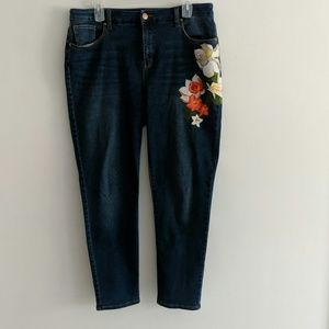 Painted jeans with flowers